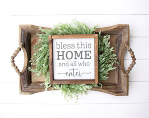 Bless This Home Sign | Framed Wood Sign | Personalized Home Decor | Housewarming Gift | Family Room Sign