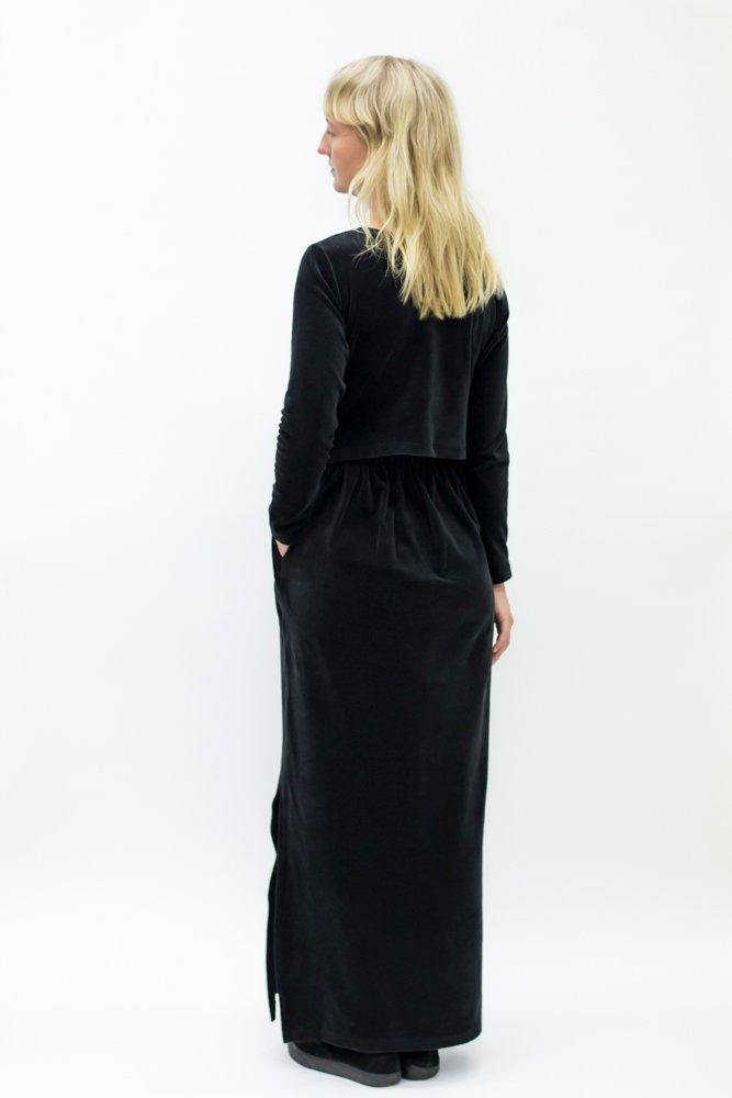 Ariel Rocket Maxi Dress - Black Velvet