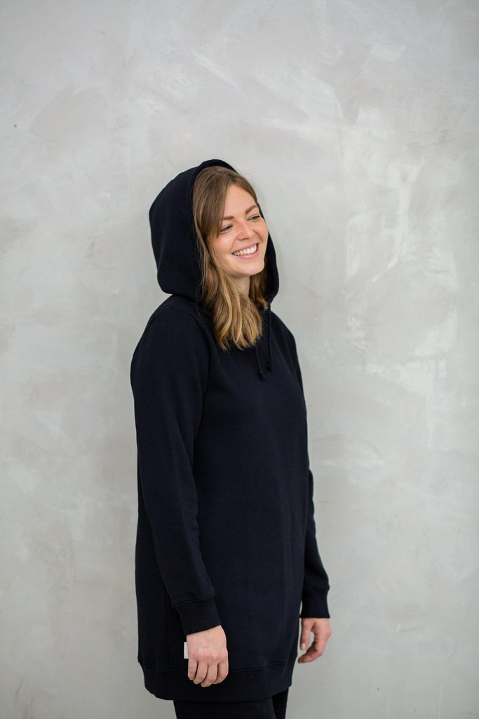 Try on our sustainable clothing Sweater Hoodie Dress - Black - MORICO
