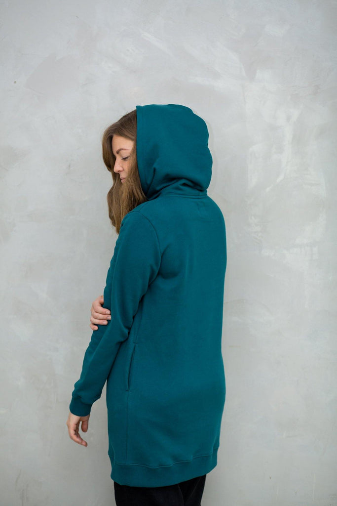 Try on our sustainable clothing Sweater Hoodie Dress - Ocean - MORICO