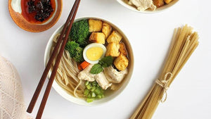 Angelina's Chicken and Tofu Soup with Brown Rice Pasta