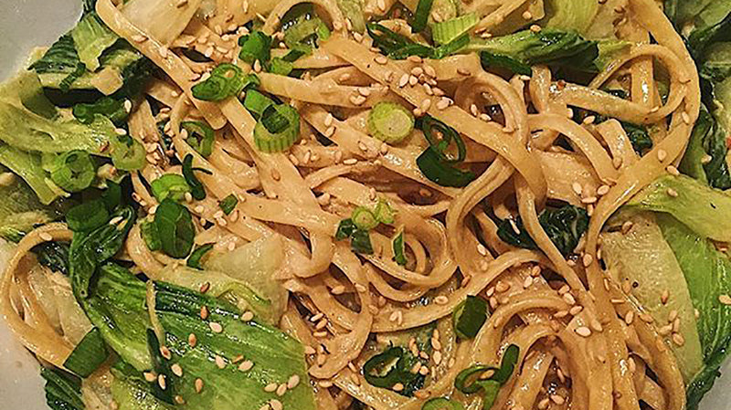 Creamy Sesame Noodles with Garlicky Bok Choy