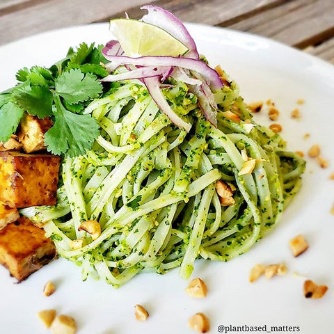 Perfect Earth's Cilantro Peanut Pesto Noodle with Soy Cilantro Marinated Tofu