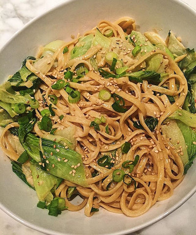 Perfect Earth's Creamy Sesame Noodles with Garlicky Bok Choy