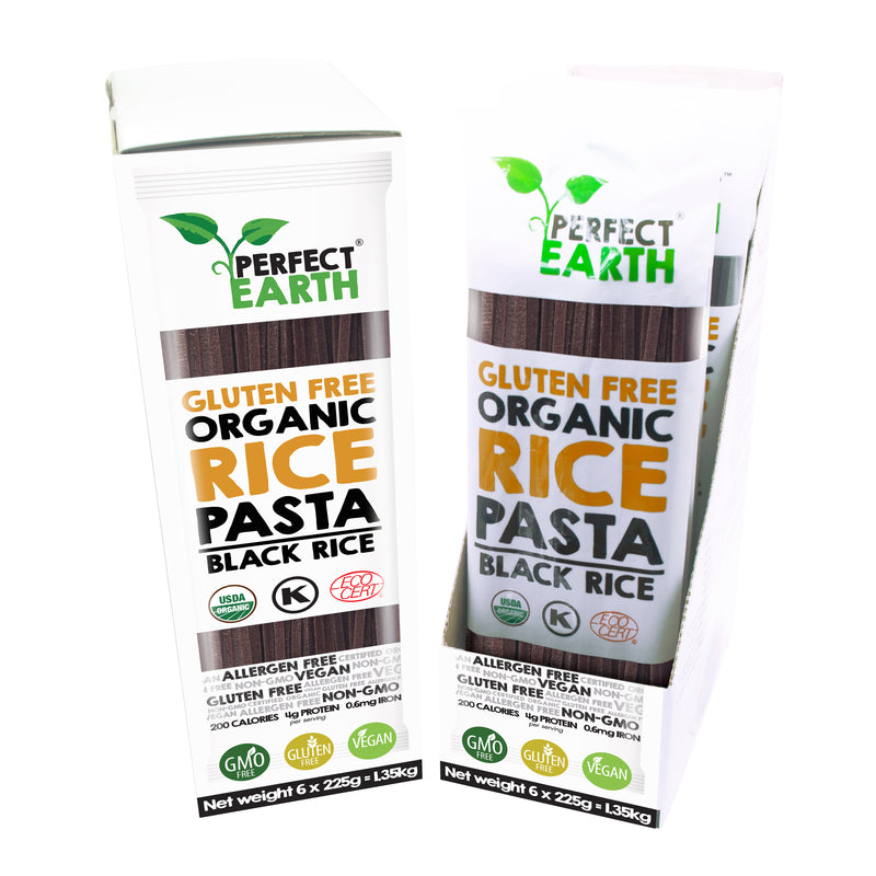 Perfect Earth Organic Rice Pasta - Black Rice - 6 Packs of 225g