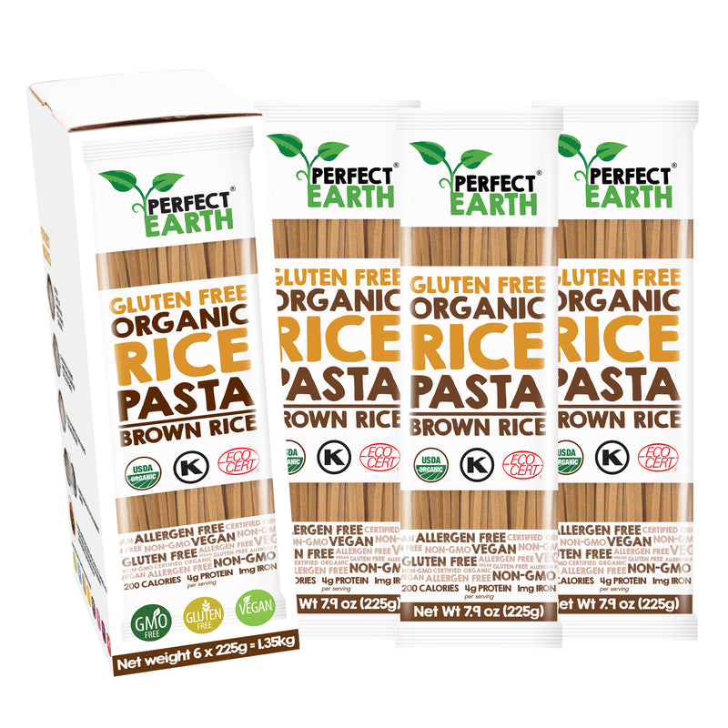Perfect Earth Organic Rice Pasta - Brown Rice - 6 Packs of 225g