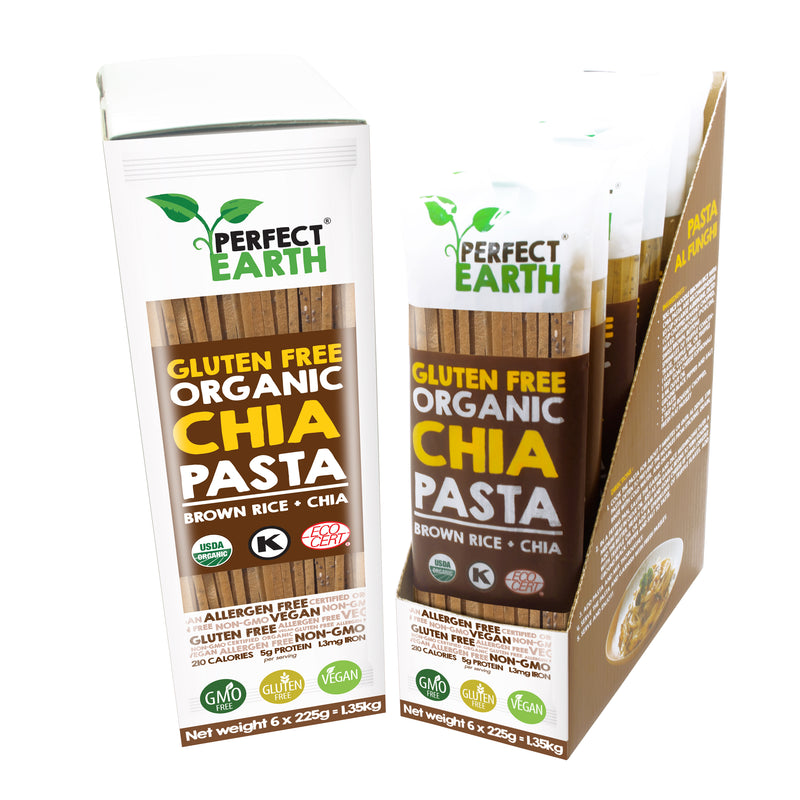Perfect Earth Organic Chia Pasta - Brown Rice - 6 Packs of 225g