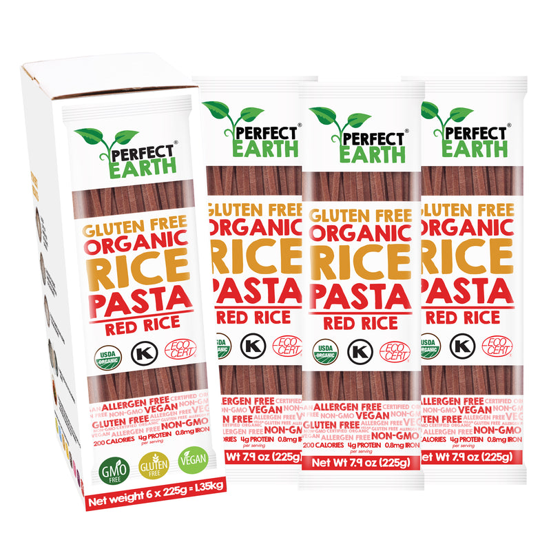 Perfect Earth Organic Rice Pasta - Red Rice - 6 Packs of 225g