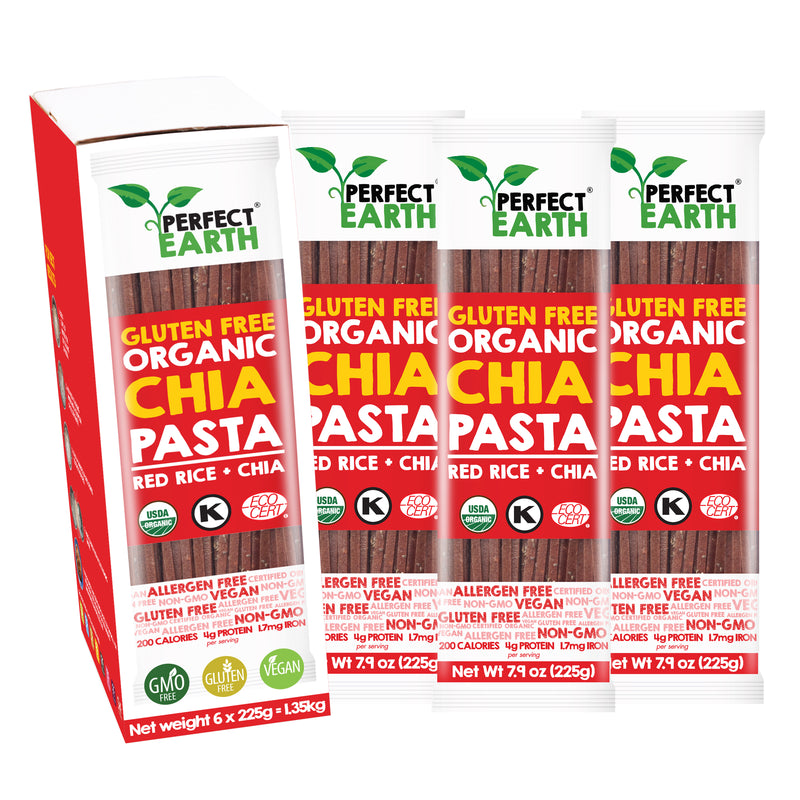 Perfect Earth Organic Chia Pasta - Red Rice - 6 Packs of 225g