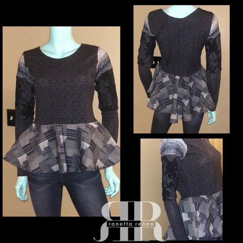 Mix Fabric Peplum Top