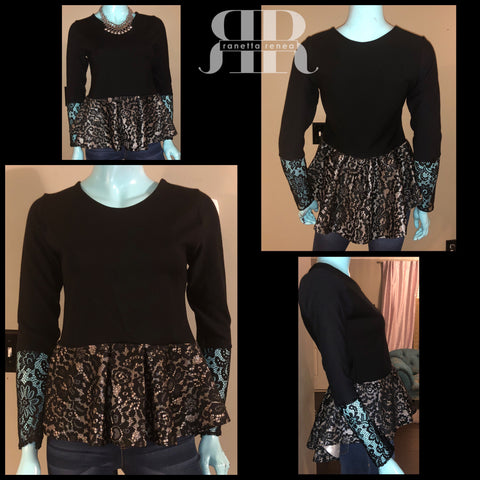 Mix Fabric Lace Peplum Top