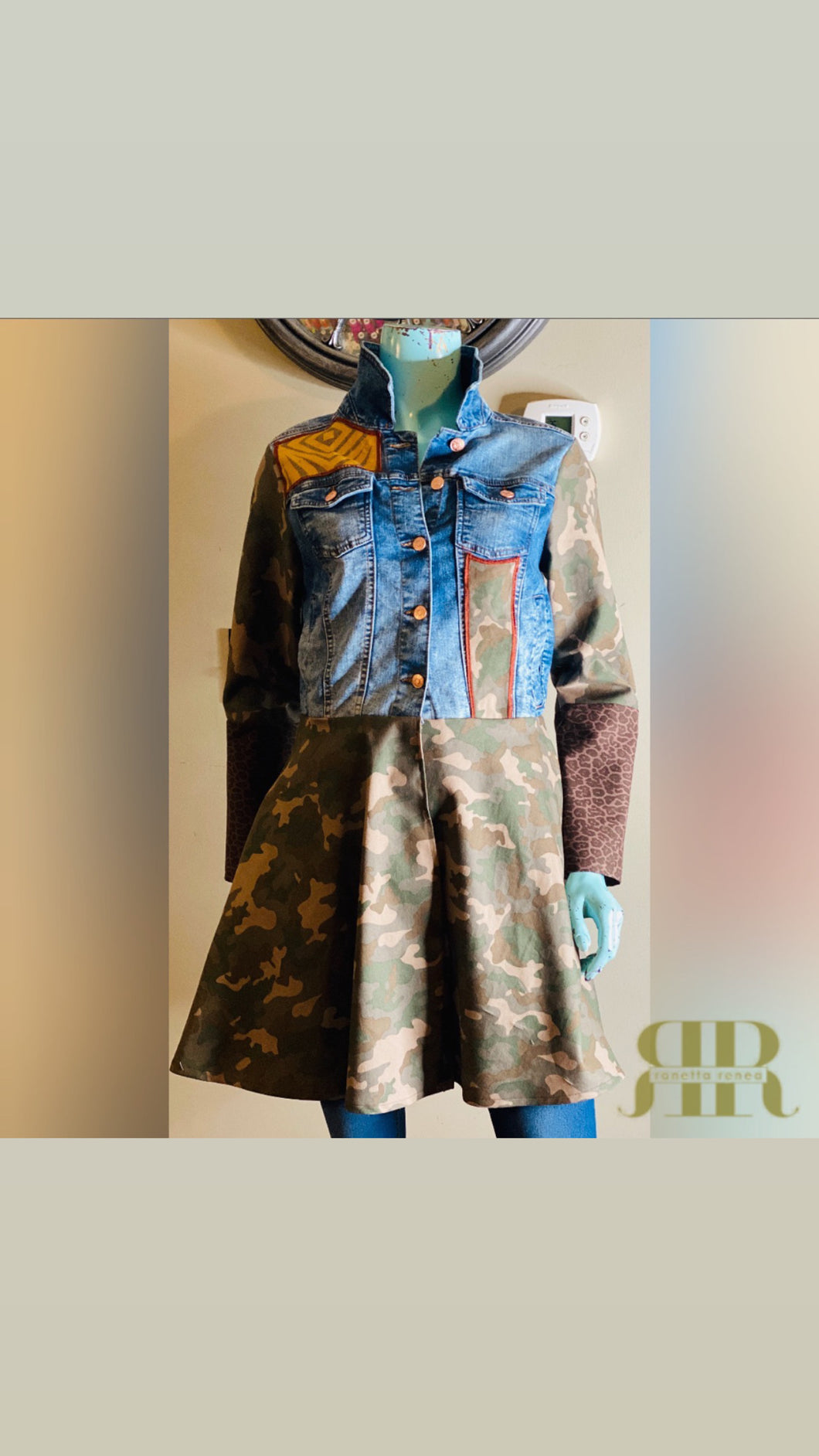 Denim & Camo Mix Fabric Jacket