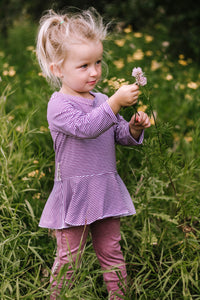 Mauve Striped Bamboo Peplum