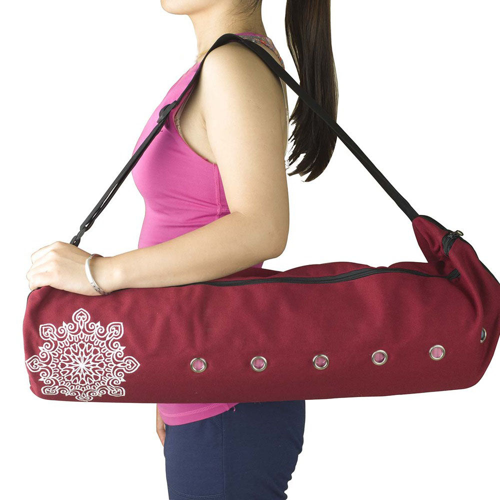 Durable cotton canvas yoga mat bag with large zipper opening