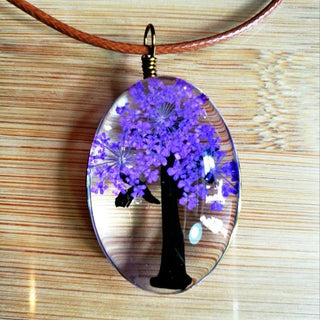 Handmade Natural Dry Flowers Tree of Life Necklaces & Pendants