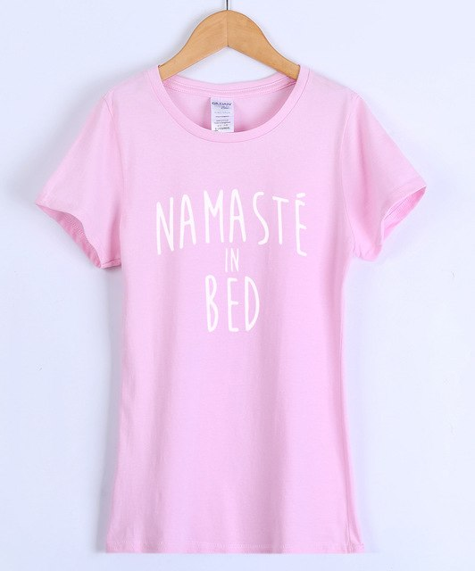 Short Sleeve Cotton Printed NAMASTE IN BED Slim Harajuku Female T-shirt