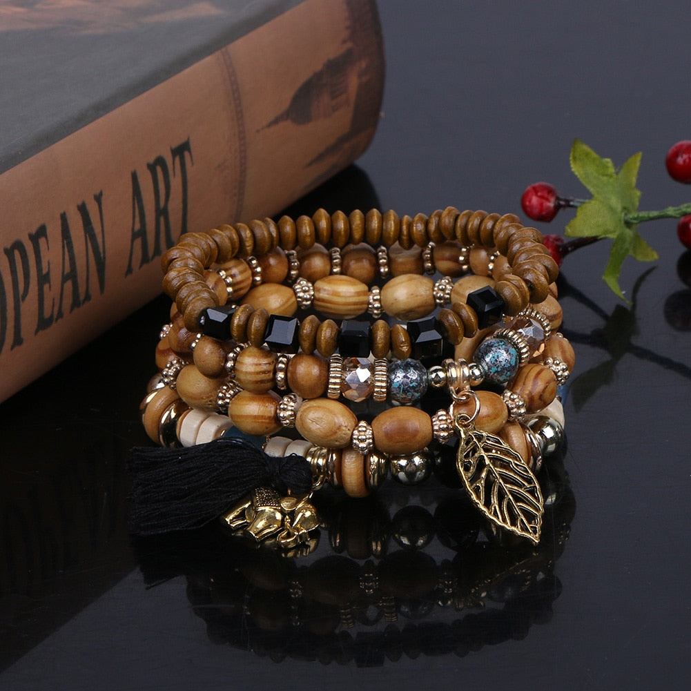 4pcs/set Multilayer Wood Beads Tassel and Leaf Charm