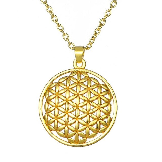 Flower of Life Mandala Necklace Pendant 3 styles 3 colors and 2 chains