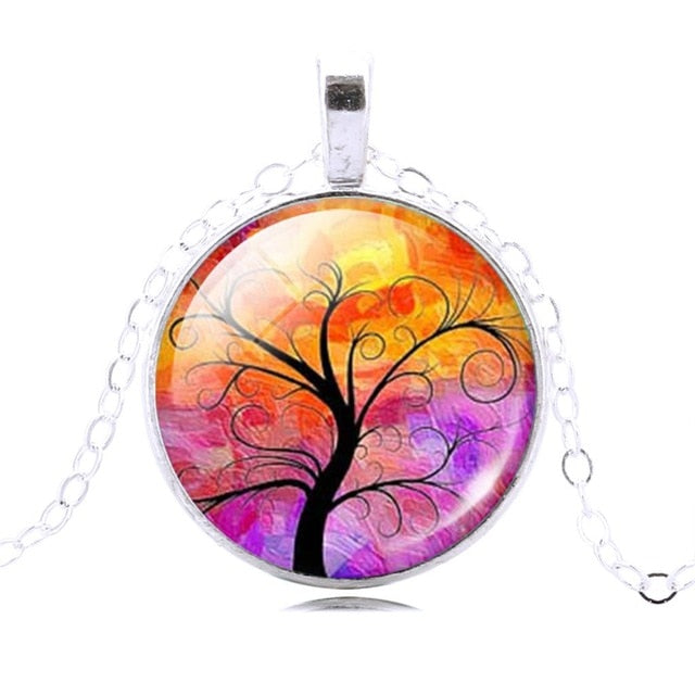 Tree of Life Pendant or Necklace With Vintage Silver Color Chain