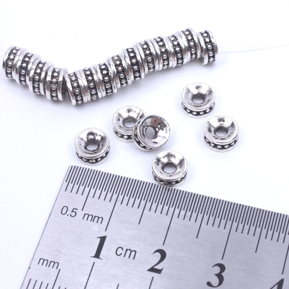 50pcs/lot 6mm 8mm Tibetan silver spacer beads