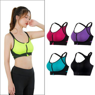 Adjustable Sports Bra for Yoga Tennis Running Wirefree with Zipper Cool Seamless