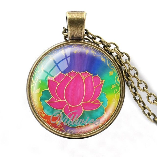 VILLWICE Vintage Mandala Lotus Necklace Handmade Art Glass Dome Yoga Pendant India Om Symbol Buddhism Zen Jewelry Women Men