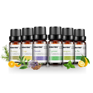 6 Bottles Pure Essential Oils for Aromatherapy Diffusers. Lavender, Tea tree, Lemongrass, Orange, & Rosemary Oil