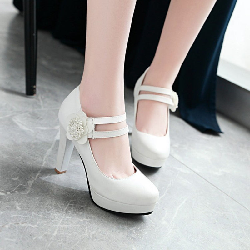 OBBVY-Flower Round Head High Heels