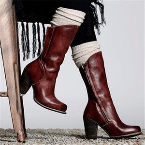 OBBVY-Fashion Leather Booties