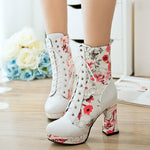 OBBVY-Chinese Style Printed Booties Classic Lovely Boots High Heels