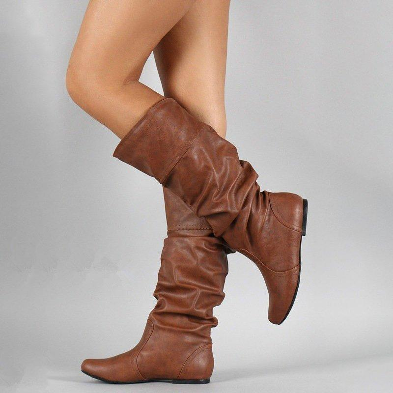 OBBVY-Pleated Wedge Heel Boots