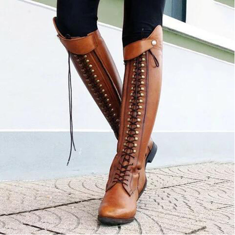 OBBVY-Rivet Strap Over Knee Boots