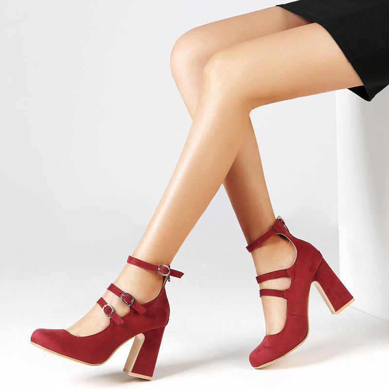 OBBVY-Fashion Buckle Round Head High Heels