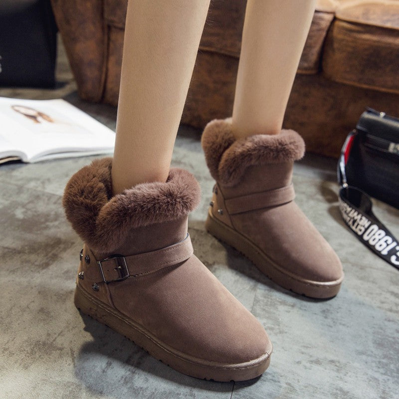 OBBVY-Fluff Short Rivet Snow Boots