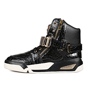 OBBVY-High-top Sneakers Gold Buckle Casual Shoes