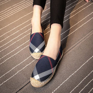OBBVY-Round Head Plaid Canvas Loafers