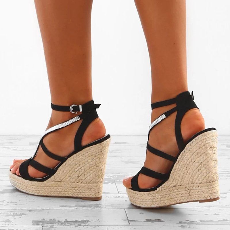 OBBVY-Cross Straps Wedge Sandals