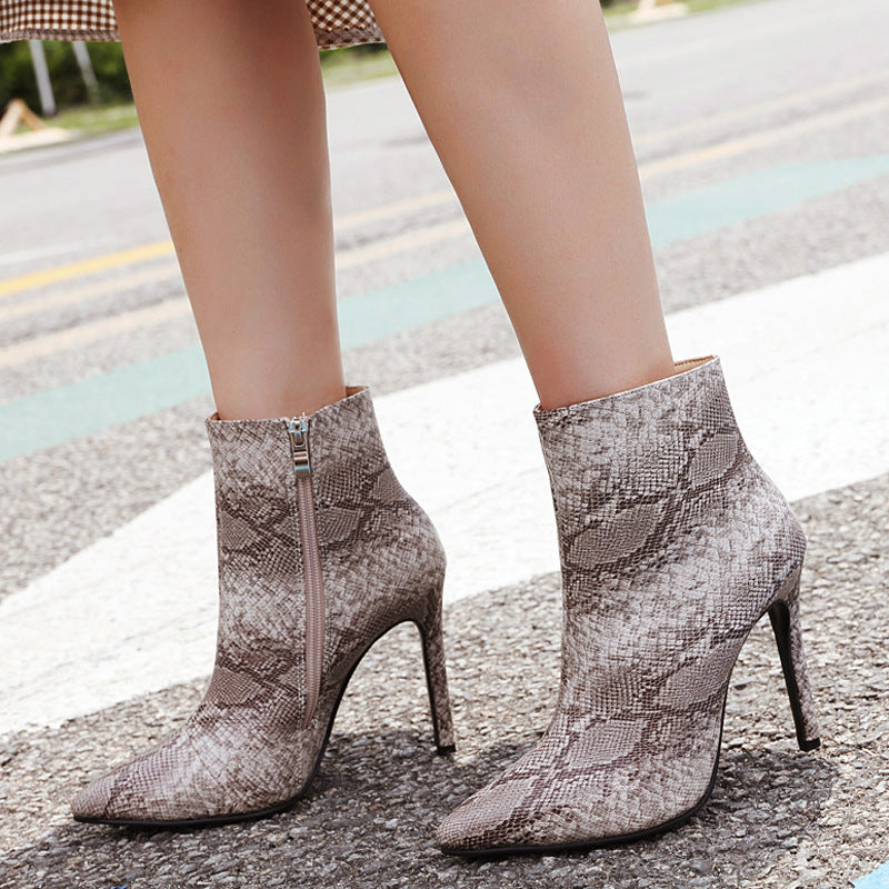 OBBVY-Sexy Snakeskin Pointed Stiletto Booties