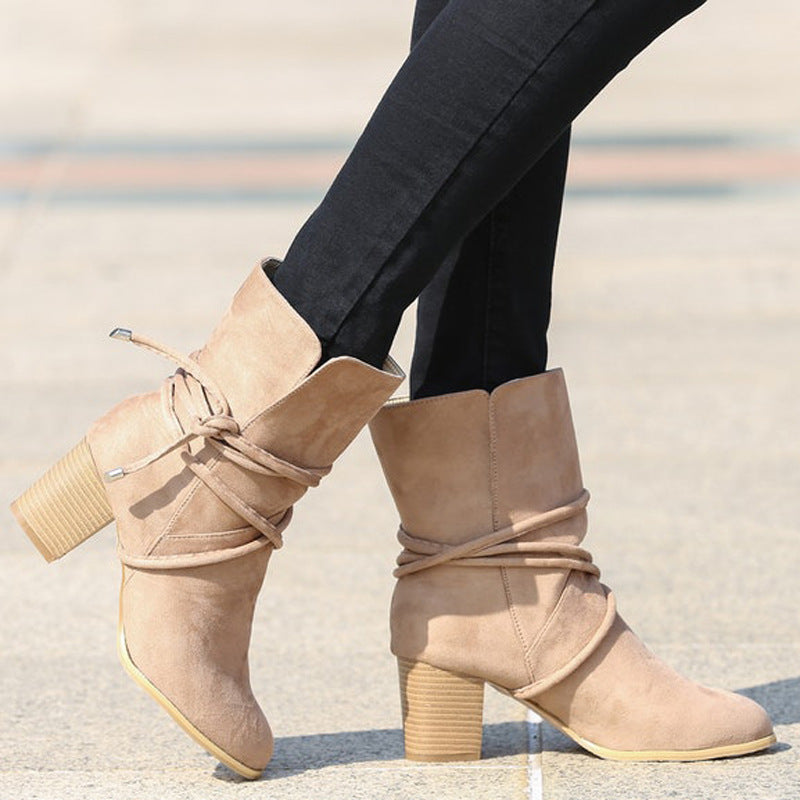 OBBVY-Thick Heel Booties