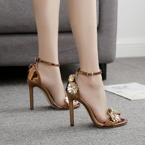 OBBVY-Elegant Temperament Metal Flower Decorative High Heels