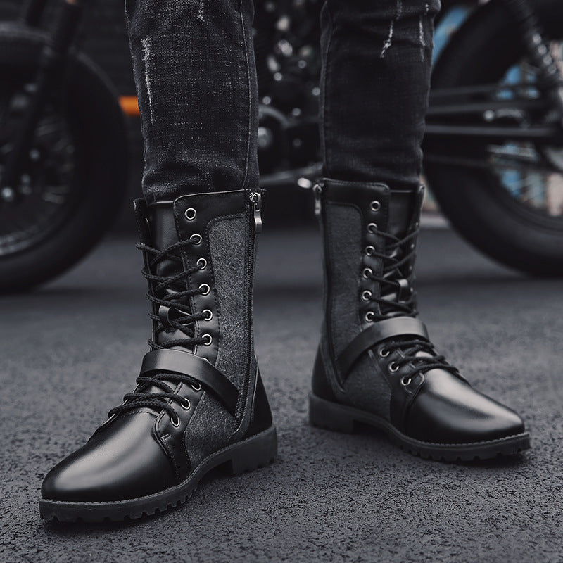 OBBVY-Stitching Martin Boots Vintage Men's Boots Size