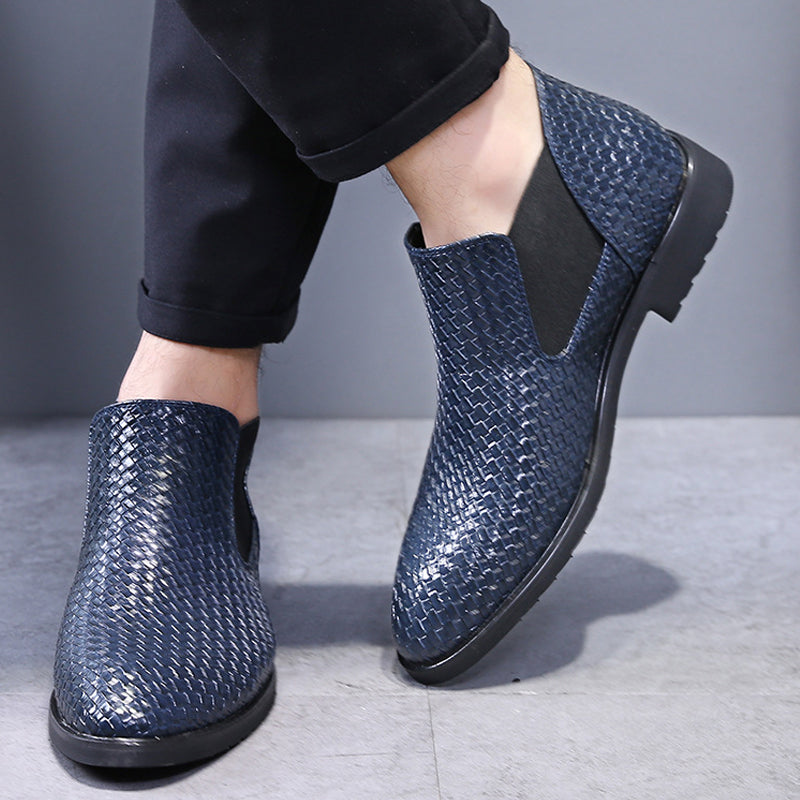 OBBVY-Hand-knitted Leather Boots Business Booties Size US6-13.5/EU38-48