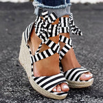 OBBVY-Striped Bow Wedge Sandals