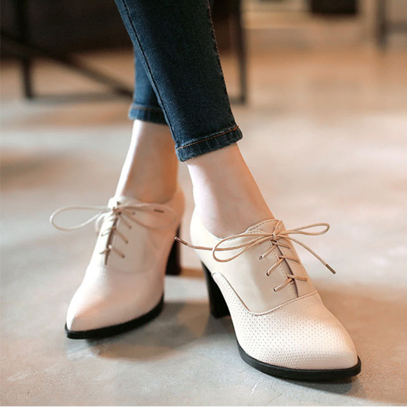 OBBVY-Lace-up High Heel Booties