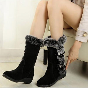 OBBVY-Thick-bottomed Rabbit Fur Snow Boots