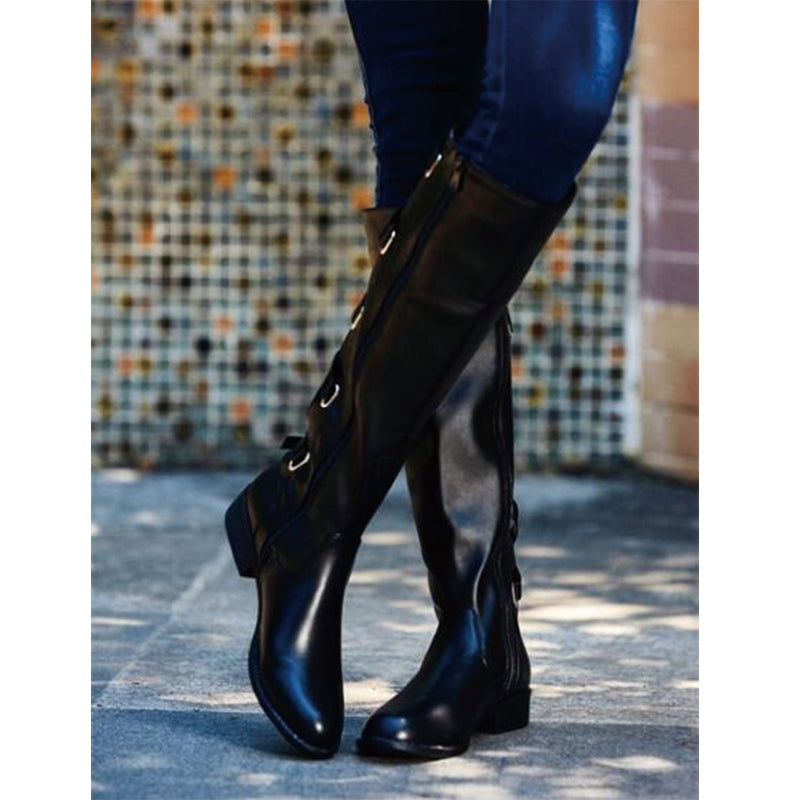 OBBVY-Belt Buckle Knee High Boots