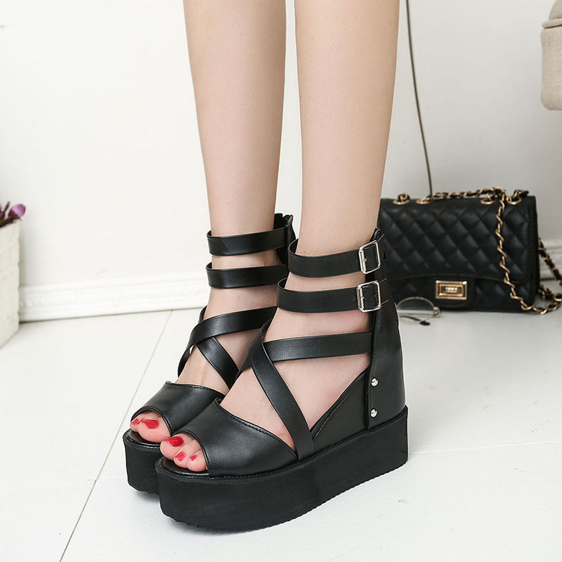 OBBVY-Zippered Hollow Roman Sandals