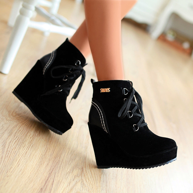 OBBVY-High Heel Martin Boots Lace Booties Wedges