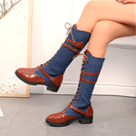 OBBVY-Retro Style New Long Martin Boots Low Heel Women's Boots
