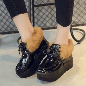 OBBVY-Wedge Leather Shoes Warm Women's Shoes Beautiful Fur Shoes